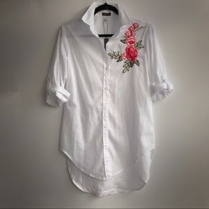 OVERSIZED BUTTON UP WITH EMBROIDERY